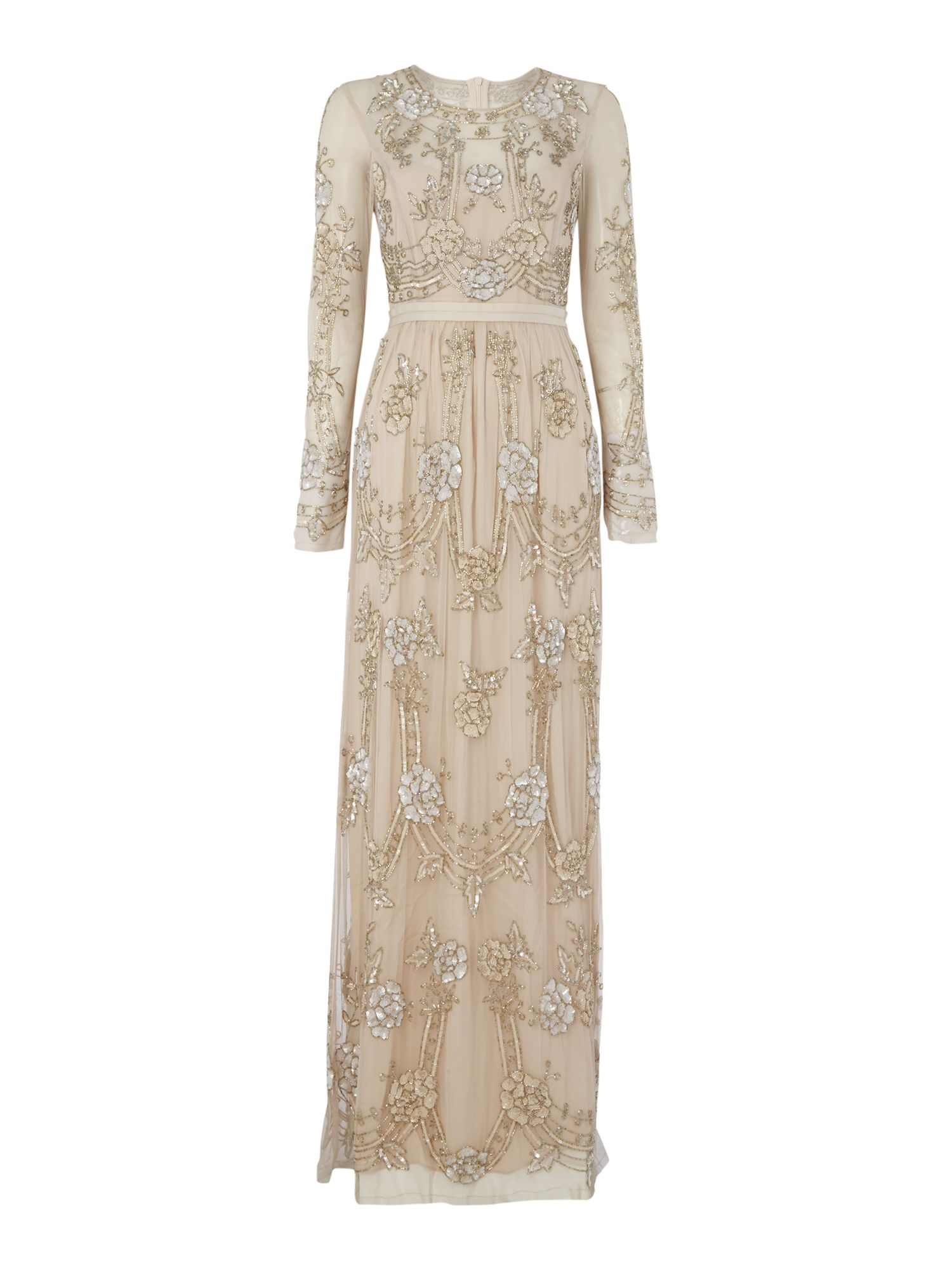 Needle and Thread Long sleeve embellished gown with ribbon band Blush £228.00 AT vintagedancer.com