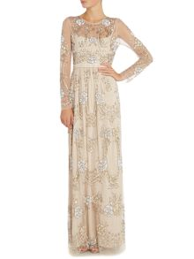 Long sleeve embellished gown with ribbon band