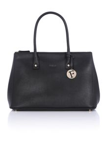 Furla Linda black double zip tote bag