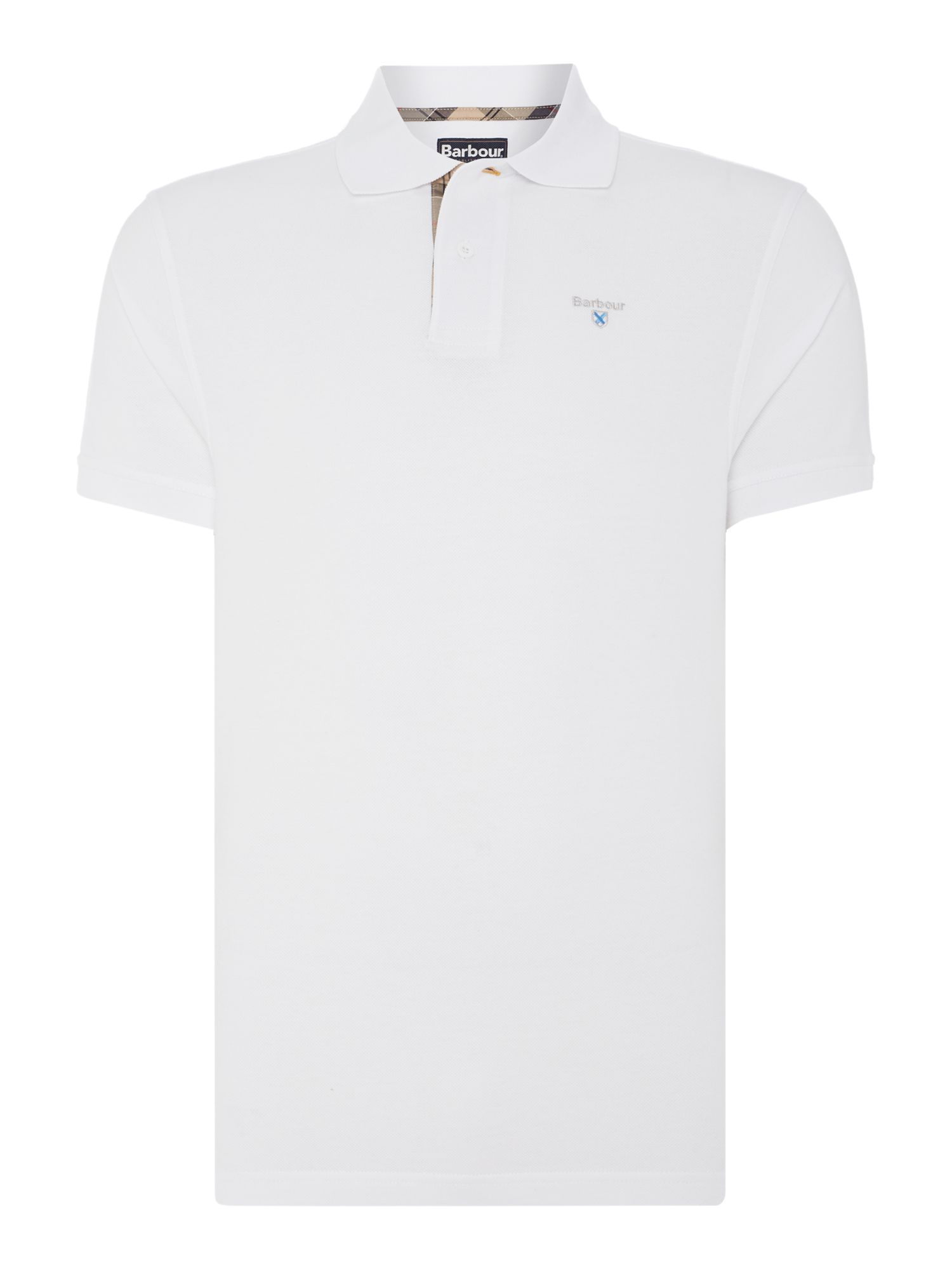 Men's Barbour Tartan Pique Polo, White