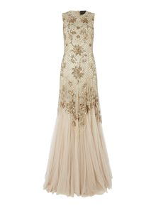 Foral embellished gown with metallic mesh detail