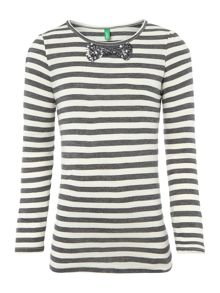 Benetton Girls Long Sleeved Striped Sequin Bow Tshirt