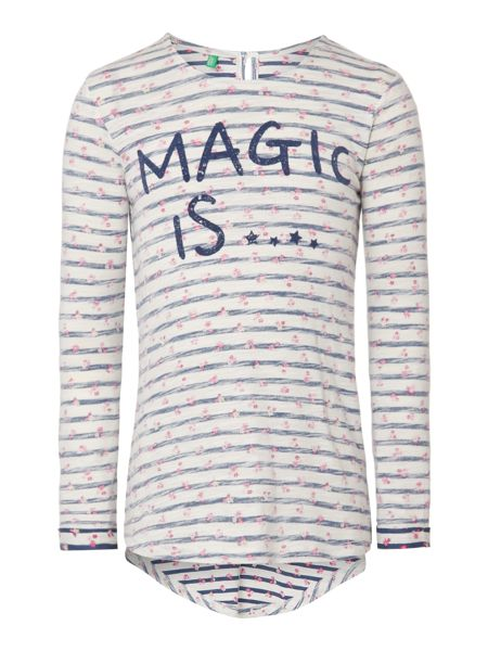 Benetton Girls Long Sleeved Magic Flowers Tshirt