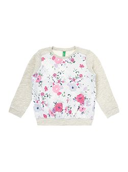 Benetton Girls All Over Print Floral Sweat