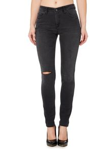 Victoria Beckham Denim Super skinny ripped jeans in textured black