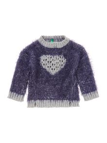 Benetton Girls Long Sleeve Heart Jumper