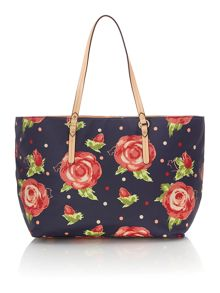 Radley Autumn rose large navy weekender bag