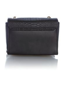 Black flapover chain crossbody bag