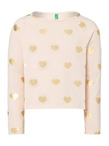 Benetton Girls Long Sleeved Heart Crop Top