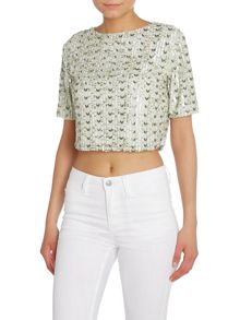 Lace and Beads Short Sleeved Embroidered Beaded Top