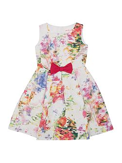 Girls Sleeveless Jaquard Floral Print Dress With