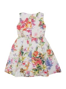 Little Misdress Girls Sleeveless Jaquard Floral Print Dress With
