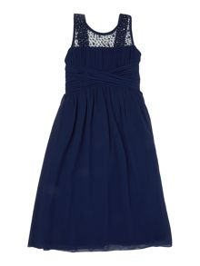 Girls Sleeveless Maxi Drss With Embellished Colla