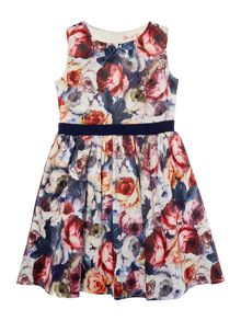 Girls Sleeveless Digital Floral Print Dress
