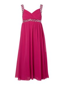 Little Misdress Girls Cross Over Front Maxi Dress With Embelished