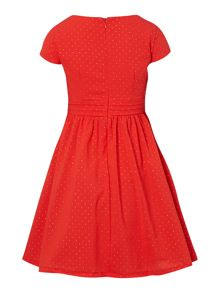Girls Spot Print Dress With Big Bow On Waist