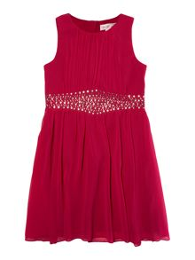 Girls Sleeveless Dress With Waistband Embellishme