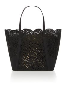 Tabia black lazer cut tote bag