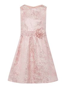 Girls Sleeveless Metallic Jacquard Pattern Dress