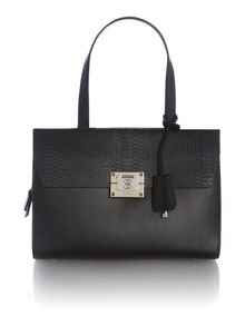 Black flapover shoulder bag