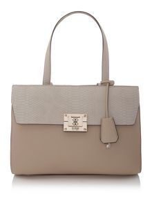 Neutral flapover shoulder bag
