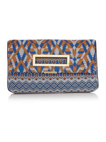 Laleh multi coloured fold over clutch bag