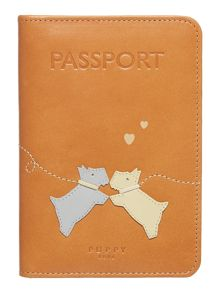 Puppy love tan passport cover