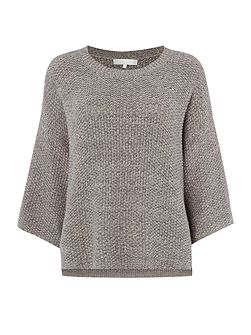 Knitted flecked textured kimono sleeve jumper
