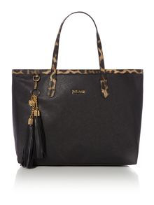 Saffiano with charms pendant black tote bag