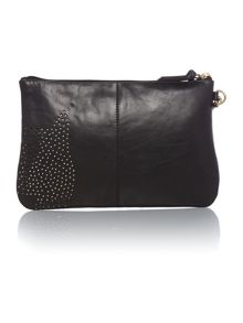 Dotty dog black medium zip pouch