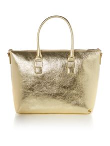 Laminated leather gold tote bag