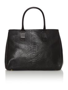 Leather python printed black tote bag