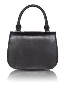 Black mini flapover crossbody bag