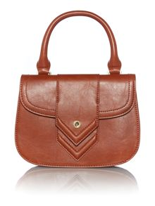 Tan mini flapover crossbody bag