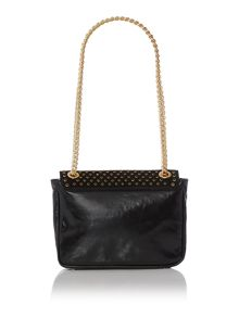 Laminated leather black shoulder bag
