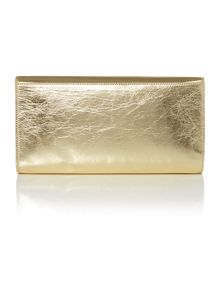 Laminated leather gold clutch bag