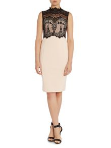 Michelle Keegan Sleeveless High Neck Lace Dress