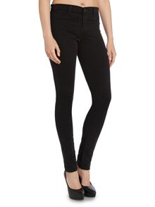 Mid rise luxe sateen super skinny jean in black