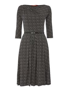 Ghiotto jersey print belted dress
