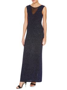 Sleeveless Mesh Insert Glitter Bodycon Maxi Dress