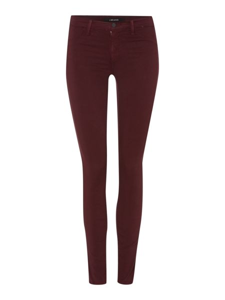 J Brand Mid rise luxe sateen skinny jean in mulberry