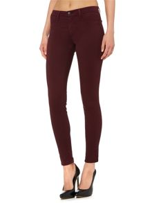 Mid rise luxe sateen skinny jean in mulberry
