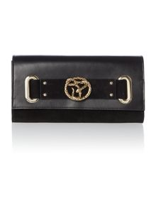 Just Cavalli Nappa leather black flap over clutch bag