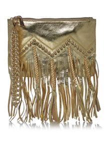 Just Cavalli Nappa leather gold wristlet clutch bag