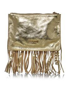 Nappa leather gold wristlet clutch bag