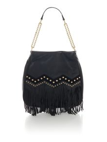 Tumbled leather multi large tassle shoulder bag