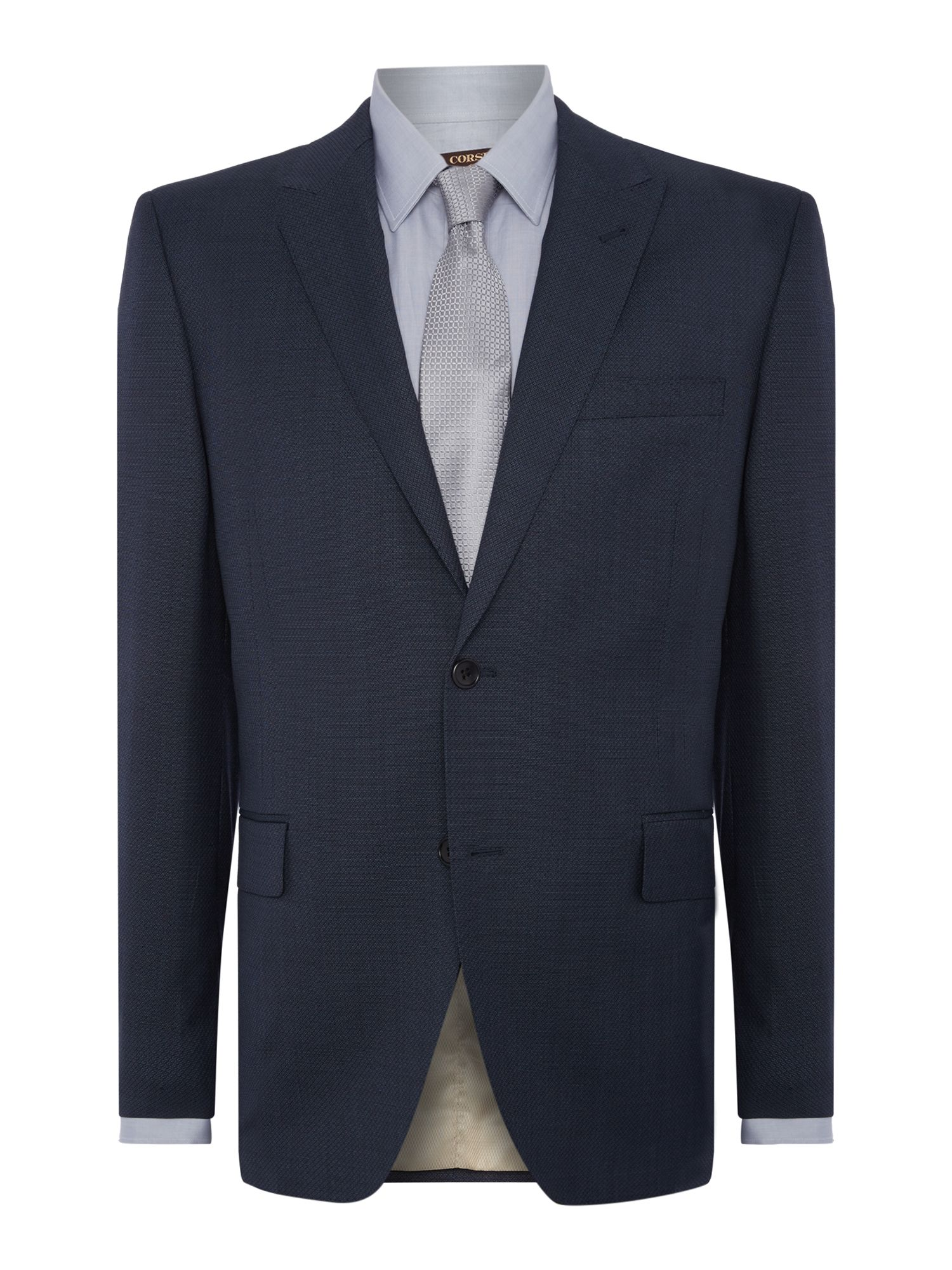 Men's Corsivo Ermes Textured Suit Jacket, Petrol Blue