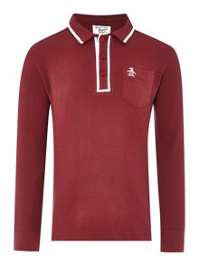 Original Penguin Boys Long Sleeved Polo With A Tipped Collar