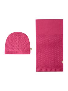 DKNY Girls knitted hat and scarf set