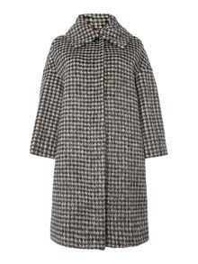Max Mara Anagni check funnel neck coat
